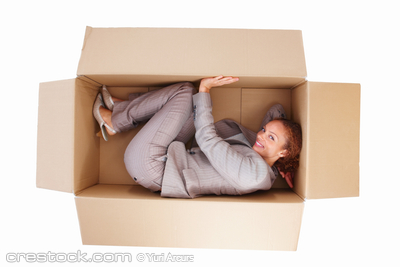 Top view of a young business woman in box isol...