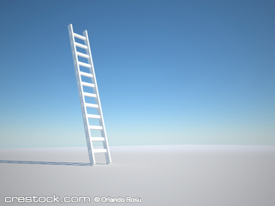 Illustration of a ladder against clear blue sk...