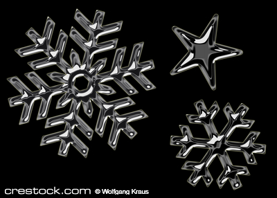 chrome style snowflakes on black background